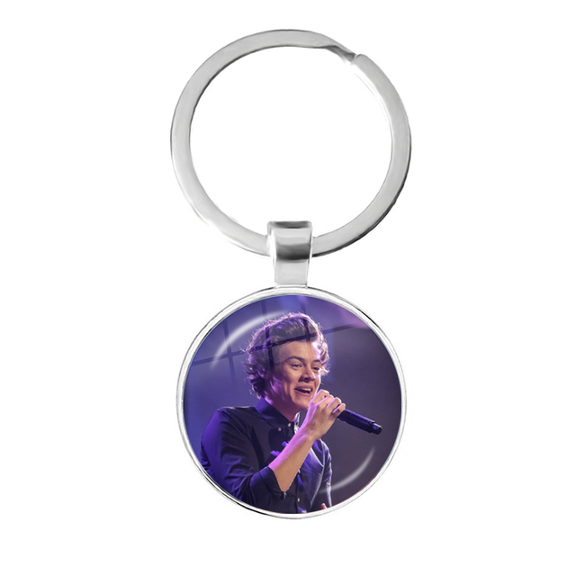 Harry Styles Love On Tour 2020 Fine Line Pendant Keychain 25mm Glass Cabochon Key Rings Holder For Fans Fashion Gift