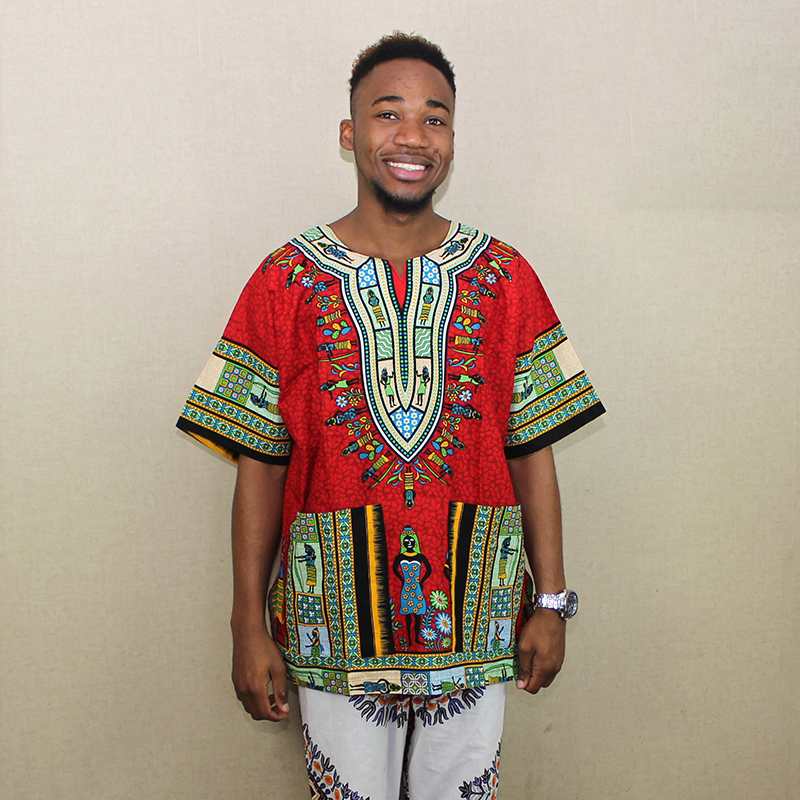 Big Red Design African Traditional Print 100% Cotton Dashiki T-shirt For Unisex