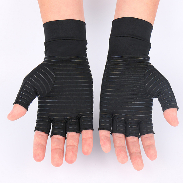 1 Pair Womens Mens fiber Therapy Compression Gloves Hand Arthritis Joint Pain Relief Half Full Finger Therapy Gloves 4