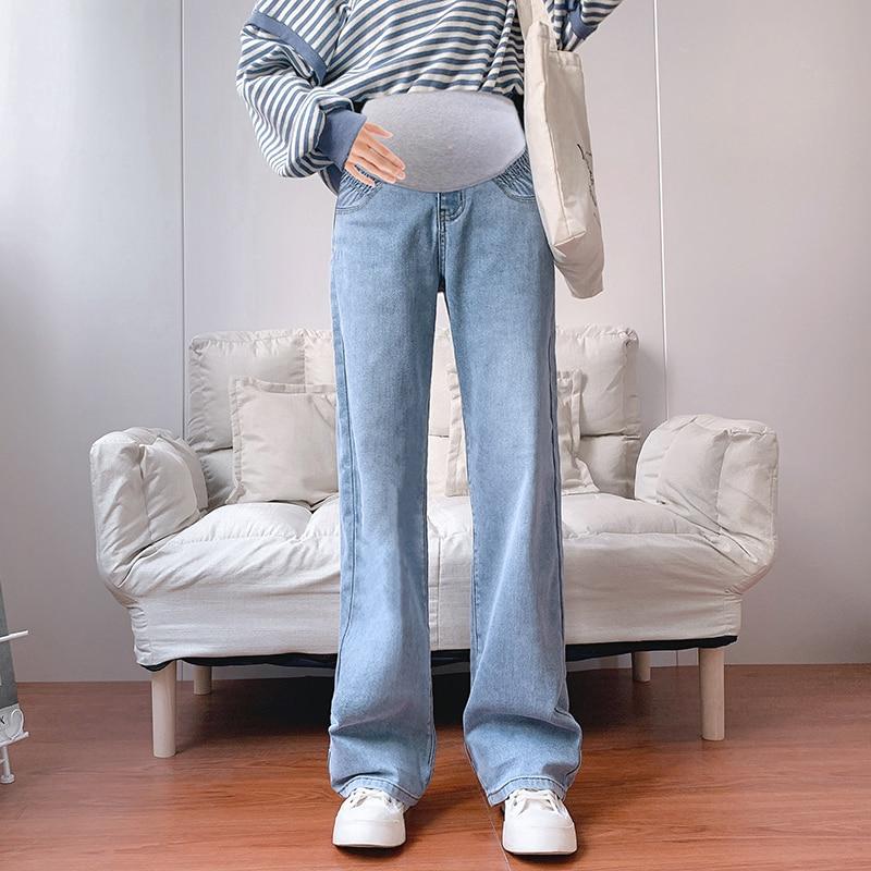 952# Soft Stretch Denim Maternity Full Long Jeans Wide Leg Large Size Loose Pants for Pregnant Women Elastic Waist Pregnancy