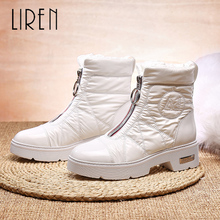 купить Liren 2019 Winter Women Fashion Ankle Zip Snow Boots Round Wrapped Toe Women Fashion Comfortable Boots Low Square Heels Boots по цене 3244.19 рублей