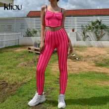 Kliou sporty tracksuit women fitness activewear casual workout bodycon camisole sleeveless top patchwork leggings set outfits