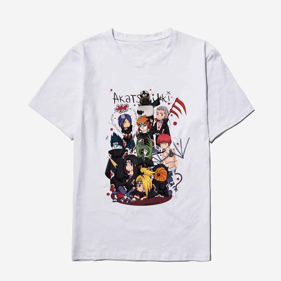 2020 di nuovo Modo Anime Akatsuki Naruto Mens Delle Magliette di Estate Fresco Pantaloni A Vita Bassa Harajuku Hip Hop Bianco T Degli Uomini Della Camicia di Cotone
