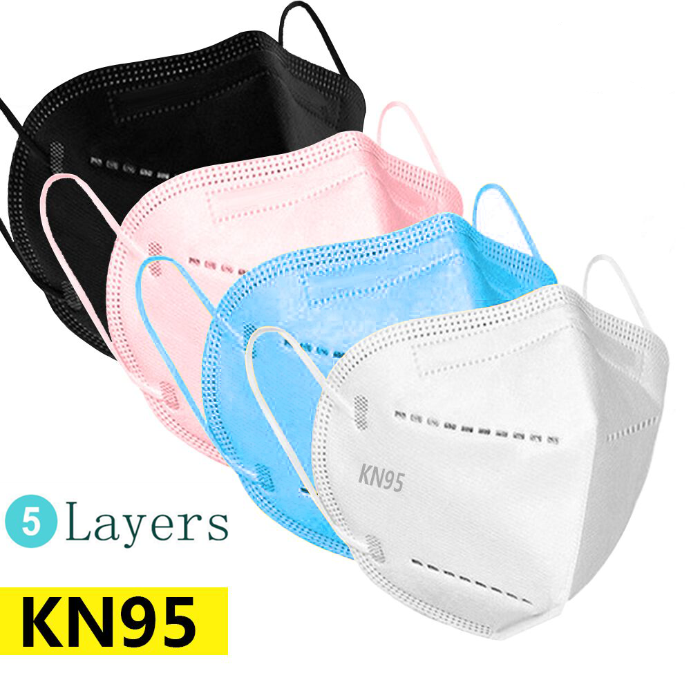Black Pink KN95 Face Masks Dust Respirator KN95 Mouth Mask 5 Layer Protective Mask Breathable 95% Filtration PM2.5 Mascarillas
