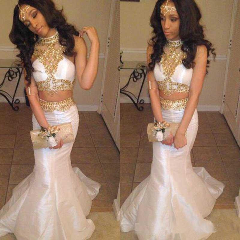 Sexy noir fille deux pièces robe de bal 2020 sirène blanc avec perlée formelle robes de soirée or perles longue fête robes de bal