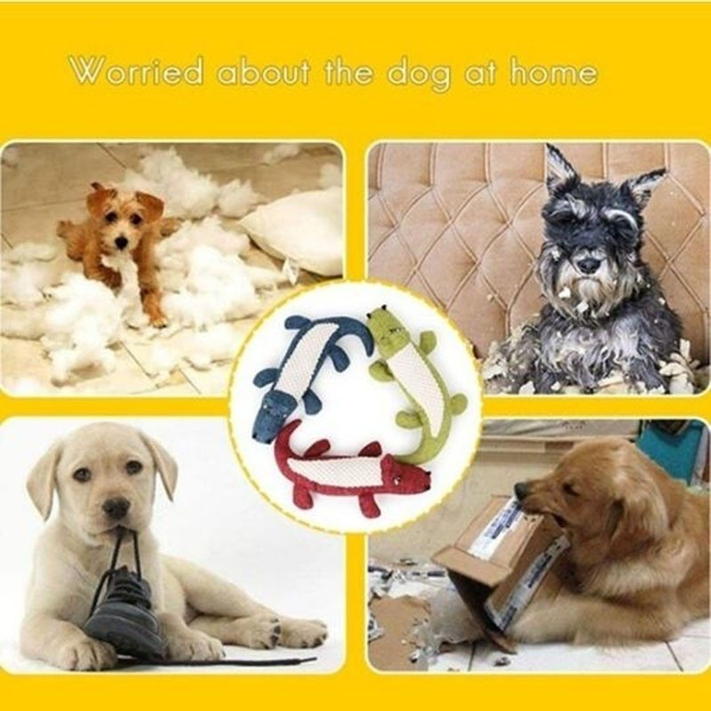 Pet Dog Toy Linen Plush Crocodile Animal Toy Dog Chew Squeaky Noise Toy Cleaning Teeth Supplies Toy Tough Interactive Doll 1PC 9