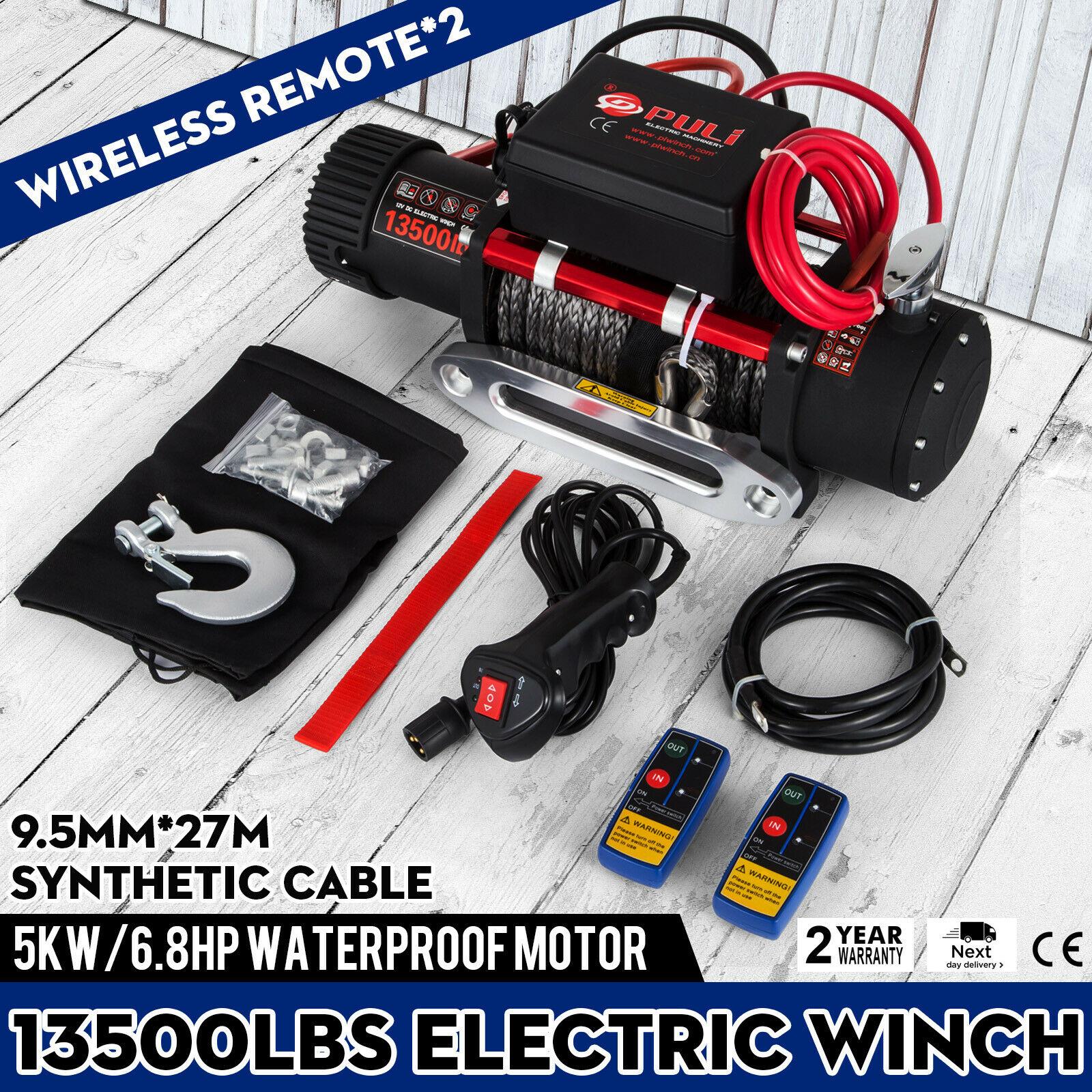 Kabestan elektryczny 13500LBS 12V elektryczna lina syntetyczna wciągarka 6123.5Kg pasuje do ATV UTV Recovery z 2 zdalne sterowanie