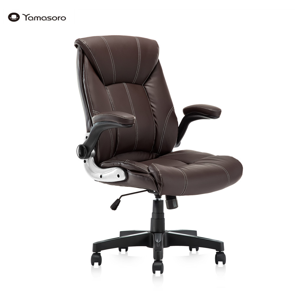 Office Chair Commercial Ergonomic High-Back Bonded Leather Executive Chair with Flip-Up Arms and Lumbar Support pc gaming chair