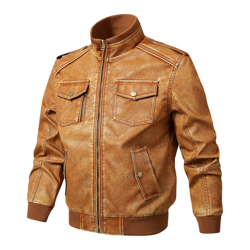 Men Genuine Leather Jackets Motorcycle Stand Collar Zipper Pocket Male Plus Size M-5XL Coats Biker Cow Leather Fashion Outerwear 2