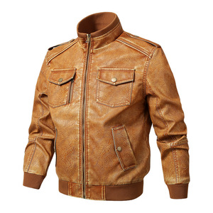 Men Genuine Leather Jackets Motorcycle Stand Collar Zipper Pocket Male Plus Size M-5XL Coats Biker Cow Leather Fashion Outerwear