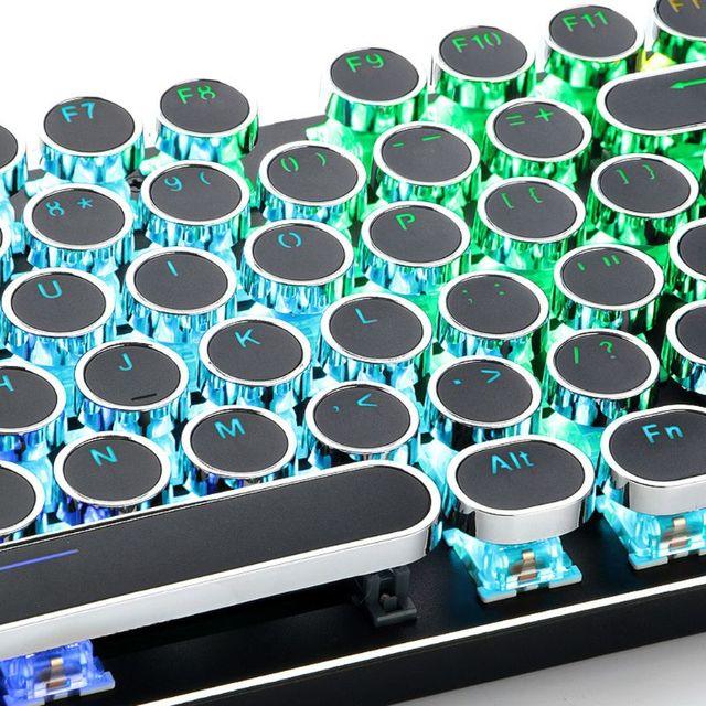 104 مفاتيح ريترو قبعات مستديرة مزدوجة النار لتقوم بها بنفسك آلة كاتبة Keycap للوحة المفاتيح الميكانيكية الخلفية غطاء مفتاح دائري