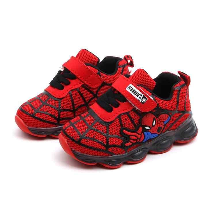 เด็กรองเท้าผ้าใบสาว Spiderman เด็ก LED รองเท้าไฟรองเท้าผ้าใบ 2019 ฤดูใบไม้ผลิฤดูใบไม้ร่วงรองเท้าเด็กเด็กสาวรองเท้า