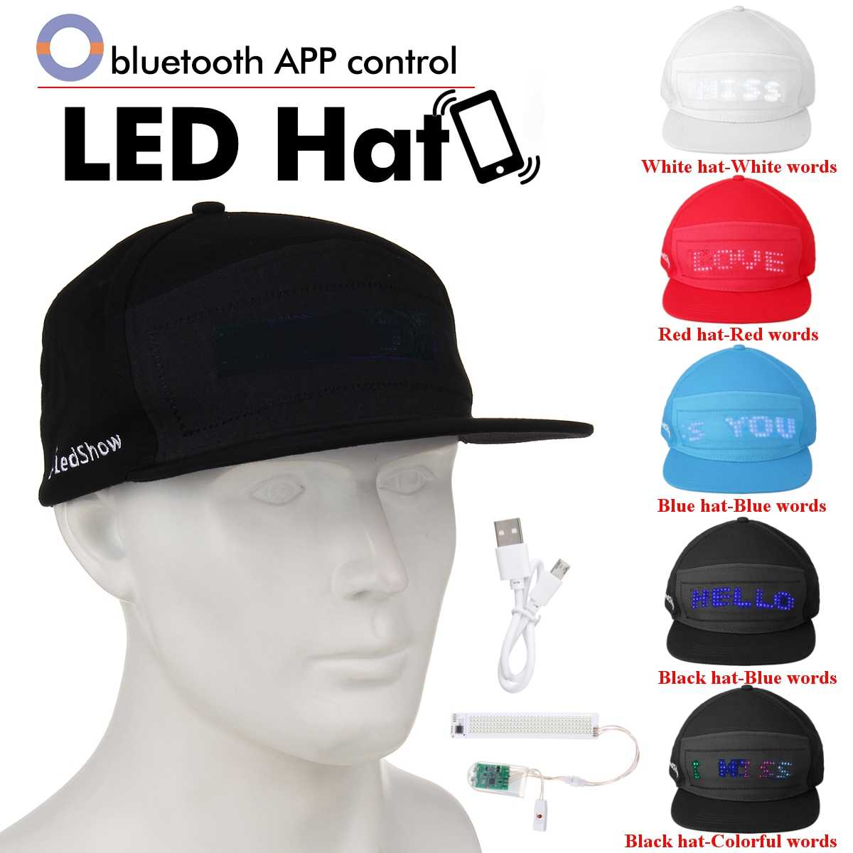 LED Display Hat Glowing Light Cap Party Sports Travel Flashlight Baseball Golf Hip Hop Flash Show Decor Hat