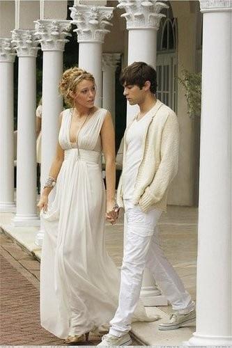 Deep V Neck Blake Livery Long Gossip Girl Chiffon Formal Party Prom Gown Vestido De Noiva Robe De Soiree Bridesmaid Dresses