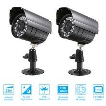 2 pcs cctv 카메라 색상 1080 p 고해상도 24 램프 nightvison 비바람에 견디는 실내 총알 카메라 아날로그 보안 카메라