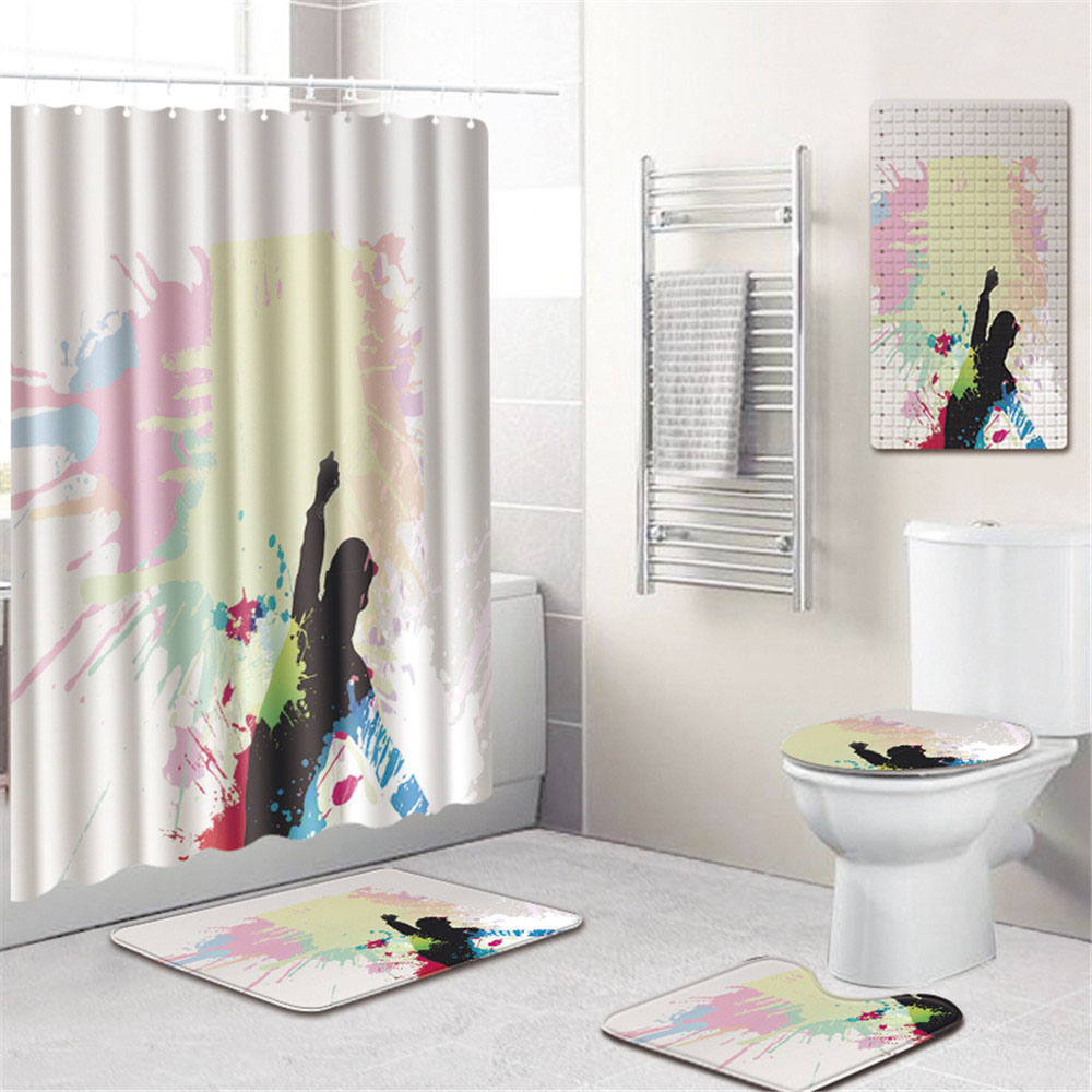 Африканской женщины Шторки для душа с принтом Водонепроницаемый полиэстер ткань Ванная комната Шторы Противоскользящий Коврик для ванны и... - 5
