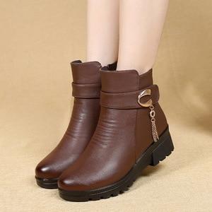 Image 5 - GKTINOO ฤดูหนาวรองเท้าผู้หญิงรองเท้าหนังแท้ส้นลื่นรองเท้าสตรีขนาดใหญ่แม่ WARM BOOT famale Snow BOOTS