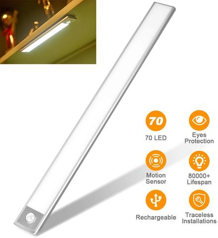 40cm sensor de movimento luz noturna 70 led sensor armario luz usb recarregavel sob a