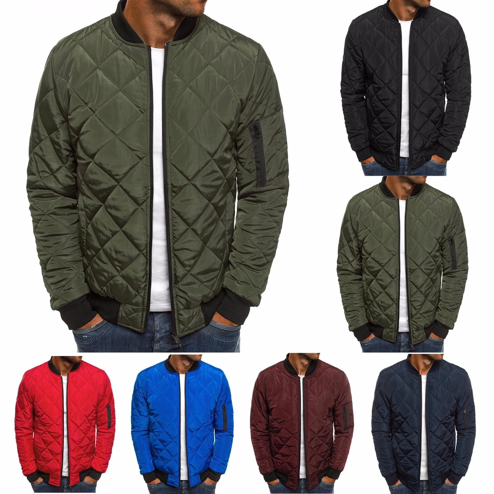 Men Autumn Jacket Wind Breaker Casual Plaid Parka Solid Color Brand Overcoat Men Thick Clothes Zipper Jackets Bomber Jacket