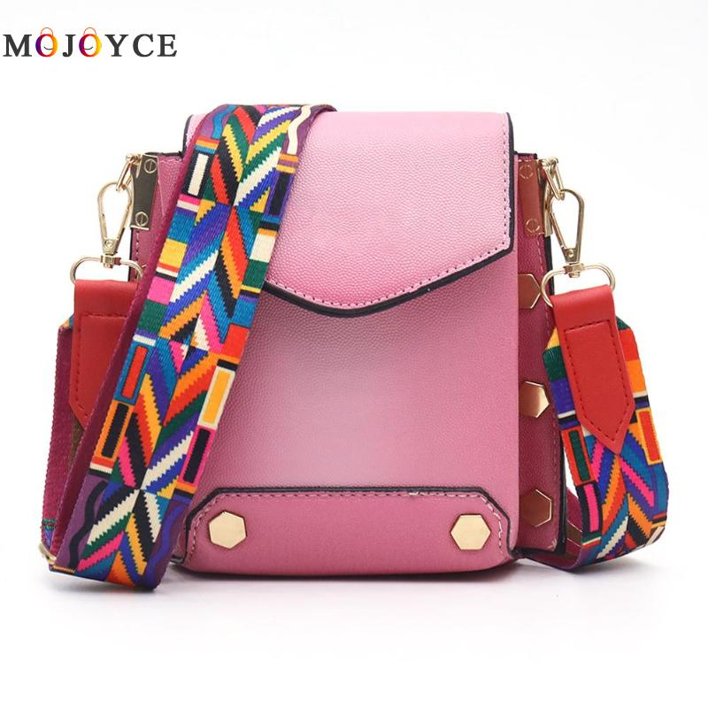 Ethnic Multicolor Printing Shoulder Strap Nylon Adjustable Rainbow Belt Wide Handle Women Bags Accessories