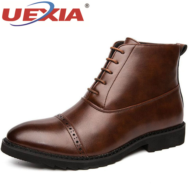 UEXIA Brand Autumn Men Boots High Quality Leather Ankle Luxury Men's Dress Lace-UP Wedding Oxfords Shoes Business Dress Brogues