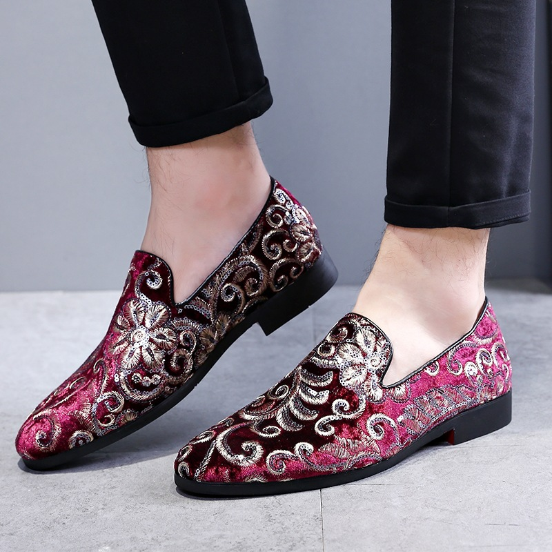 2020 High Quality Embroidery Business Shoes Doug Suede Leather Pointed Toe Slip-On Penny Casual Flat Shoes