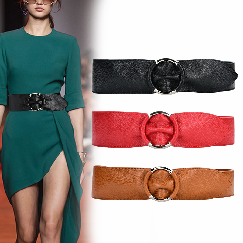100% Cowskin Wide Belts For Women High Quality Ceinture Femme Waistband Fashion Silver Circle Genuine Leather Cummerbunds Woman
