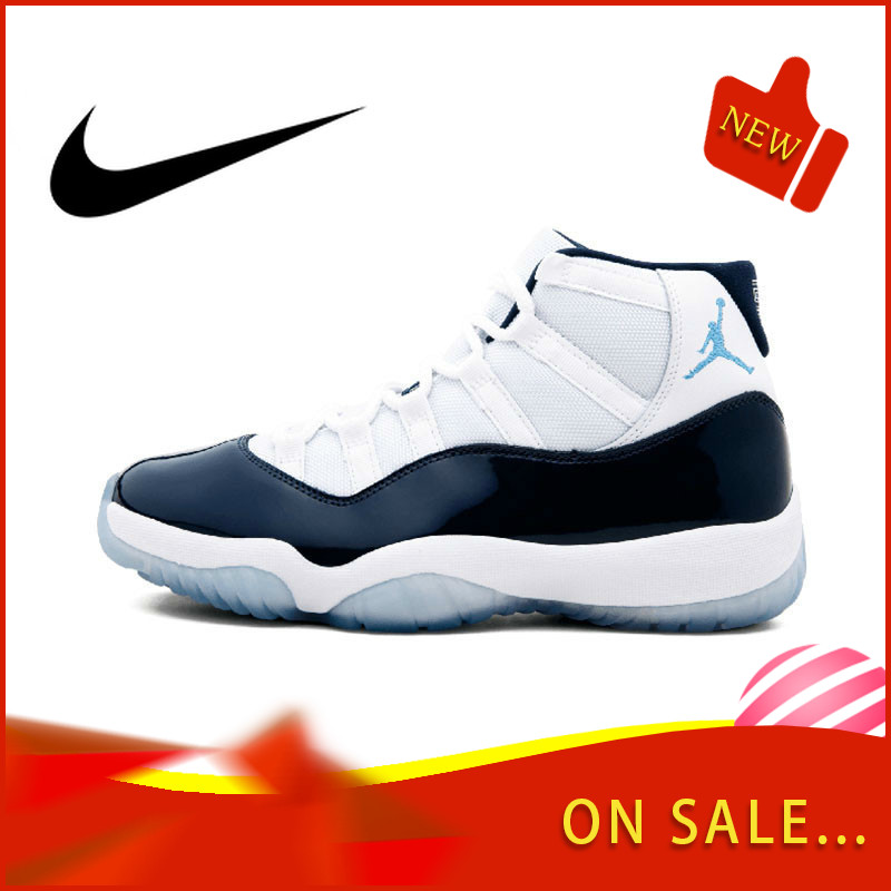 Original Authentic Nike Air Jordan Retro 11 Men's Basketball Shoes Fashion Outdoor Sports Shoes Wear Elastic Slip 378037-123 image