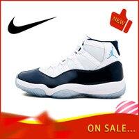 Original Authentic Nike Air Jordan Retro 11 Men's Basketball Shoes Fashion Outdoor Sports Shoes Wear Elastic Slip 378037 123