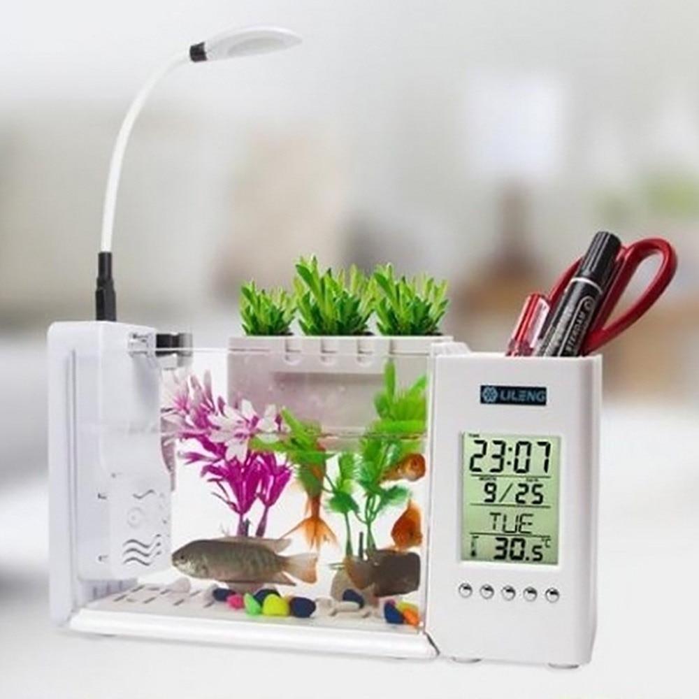 USB Portable Mini Aquarium Fish Tank With LED Lamp Light LCD Display Screen And Clock Air Pump Decor Fish Bowl Water Filtration