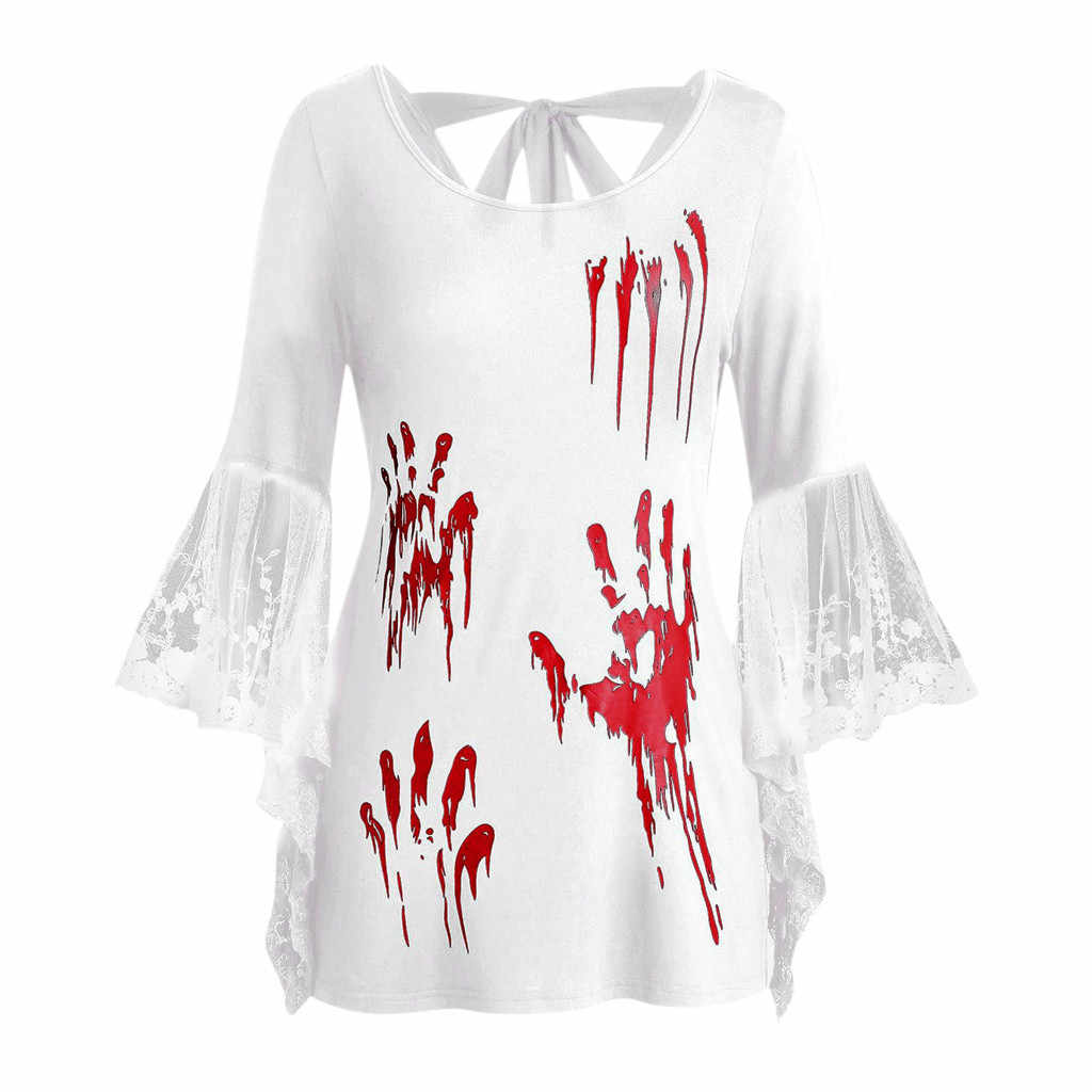 SAGACE PLUS ขนาดฮาโลวีนลูกไม้ Flare แขนเลือดมือพิมพ์กลับผูกปมด้านบนสามไตรมาส O-Neck หญิงเสื้อยืดร้อนสิงหาคม 26
