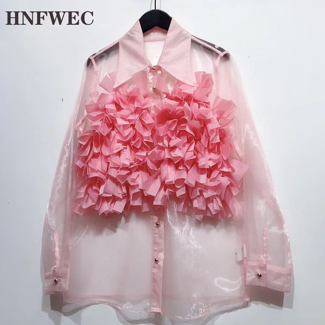 Chiffon Perspective Shirt Female Korean Style Wild Fashion Women Blouses and Tops Summer New 2020 Women Clothing F348 1
