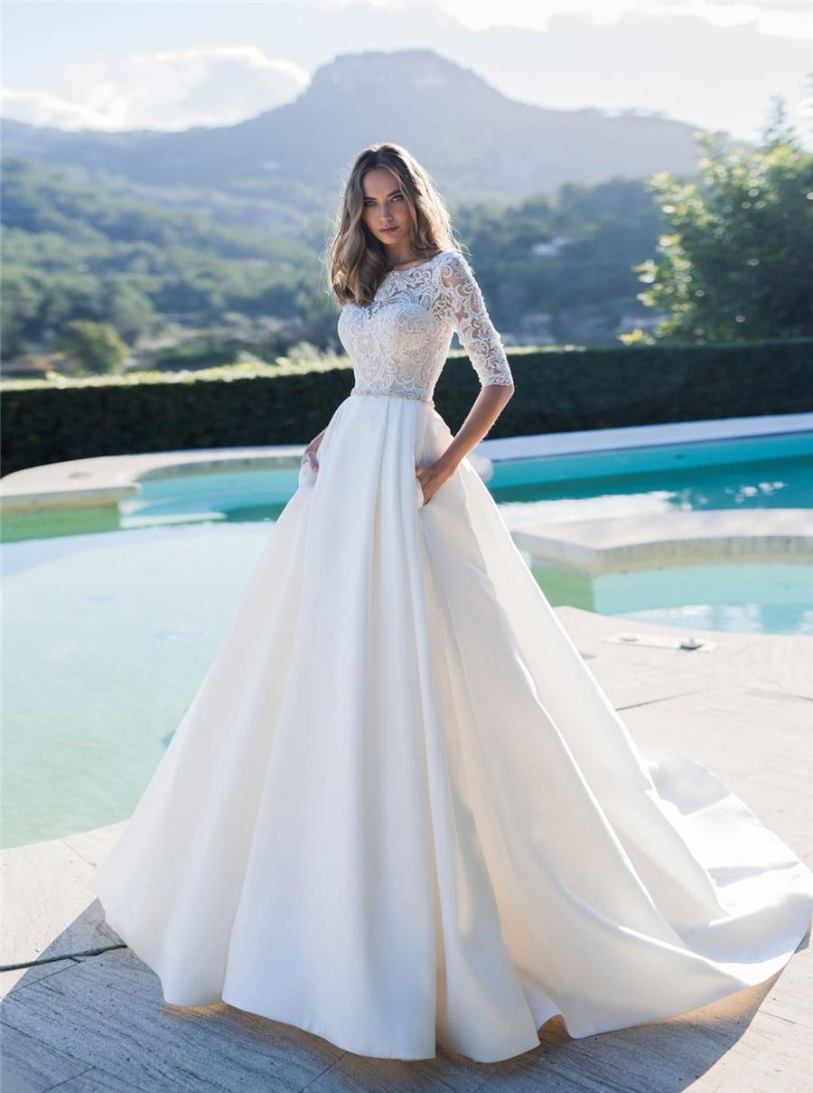 Half Sleeves A-Line Wedding Dresses 2020 Modest Satin Bridal Gowns Garden Custom Modest European Fashion Beach Robe De Mariee
