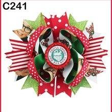 D 65 шт рождественские перьевые банты для волос конфетный тростниковый бант Санта заколка для волос олень головная повязка, слоистые коркер банты