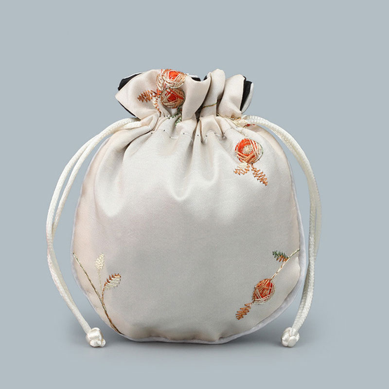 Satin Drawstring Chinese Silk Brocade Pouches bag Damask Jewelry Product Packing Pouch Christmas/Wedding Gift Bag embroidered