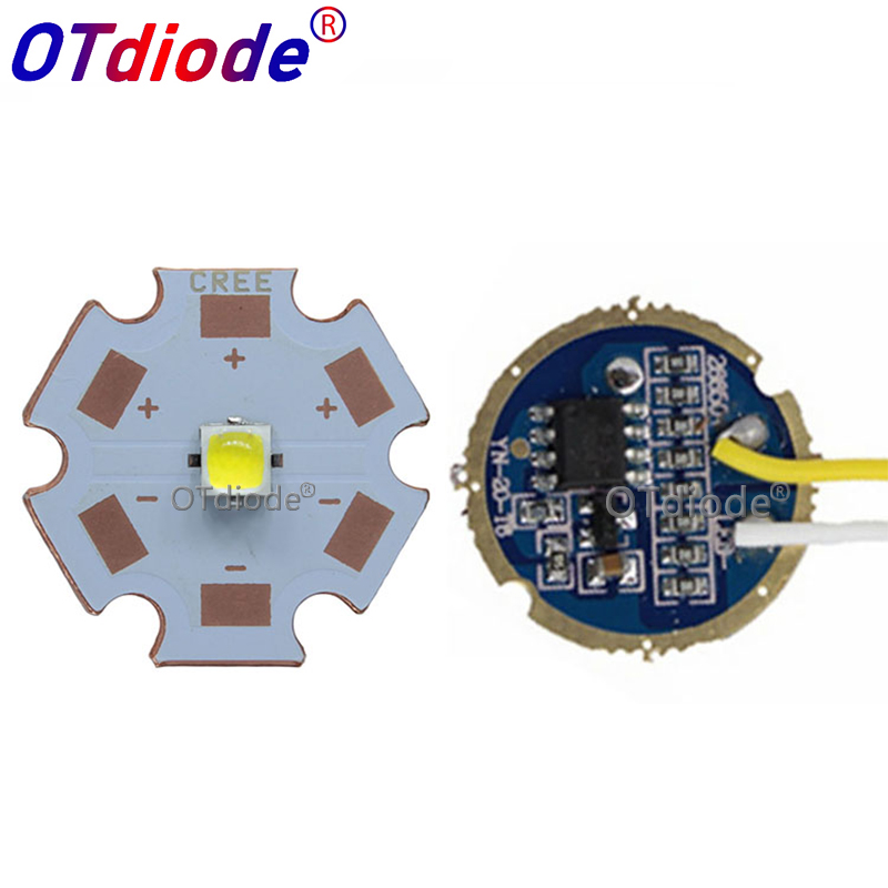 CREE <font><b>10W</b></font> XPL XP-L V5 V6 <font><b>Led</b></font> Emitter Light WHITE Neutral White Warm White Diode Chip 16MM Aluminum PCB+Input 16mm 3.7V <font><b>LED</b></font> <font><b>driver</b></font> image