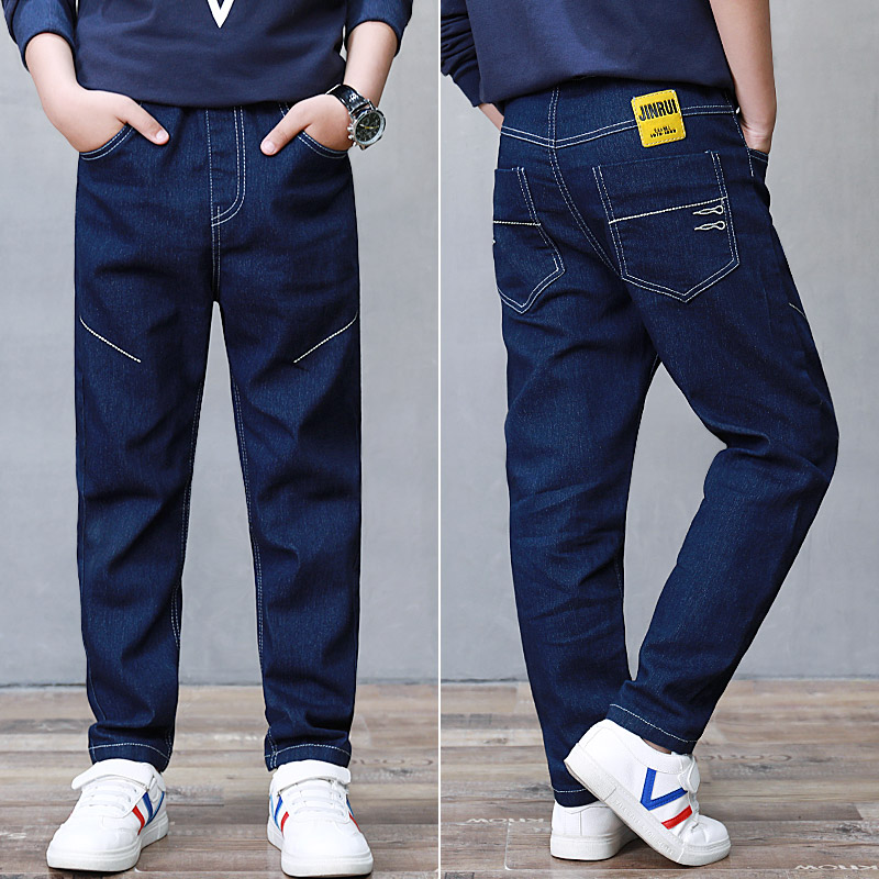 Ripped Jeans Pant Blue-Trousers Teen Kids Cotton Children for Autumn Spring Pure-Color title=
