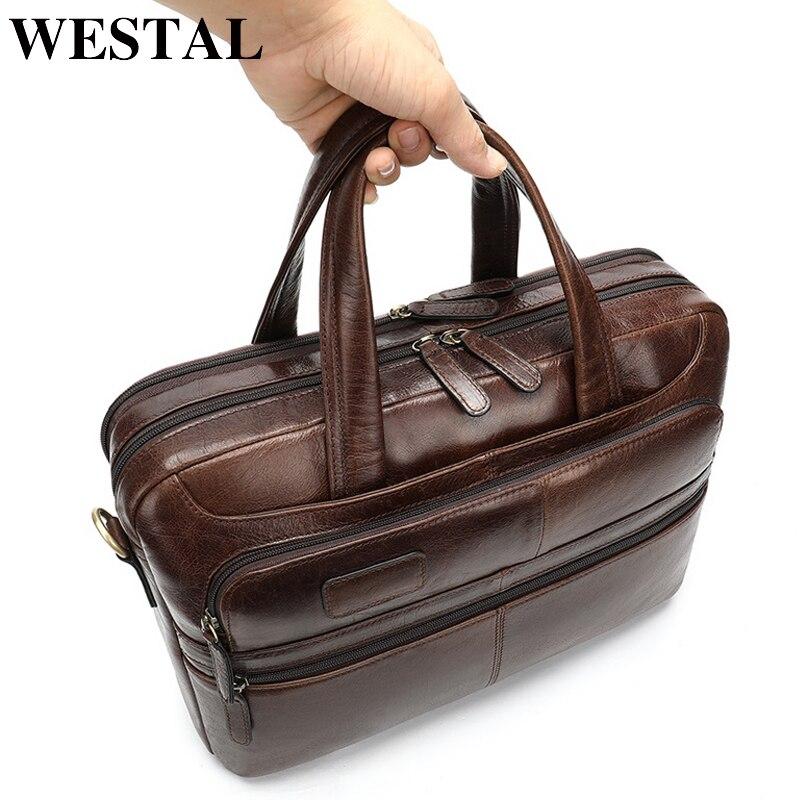 Maletín WESTAL para hombres de negocios, maletín para ordenador portátil, bolso de cuero para hombres, bolso de trabajo de cuero genuino/bolsos de oficina para hombres, maletín para hombre