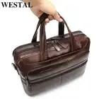 Maletín WESTAL para hombres de negocios, maletín para ordenador portátil, bolso de cuero para hombres, bolso de trabajo de cuero genuino/bolsos de oficina para hombres, maletín para hombre - 1