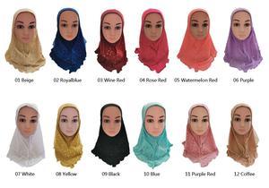 Image 2 - Arabischen Kinder Mädchen Hijab Caps Muslimischen Kopf Abdeckung Schals Kopftuch Islamischen Hut Volle Abdeckung Gebet Hut Haar Verlust Headwear Hüte ramadan