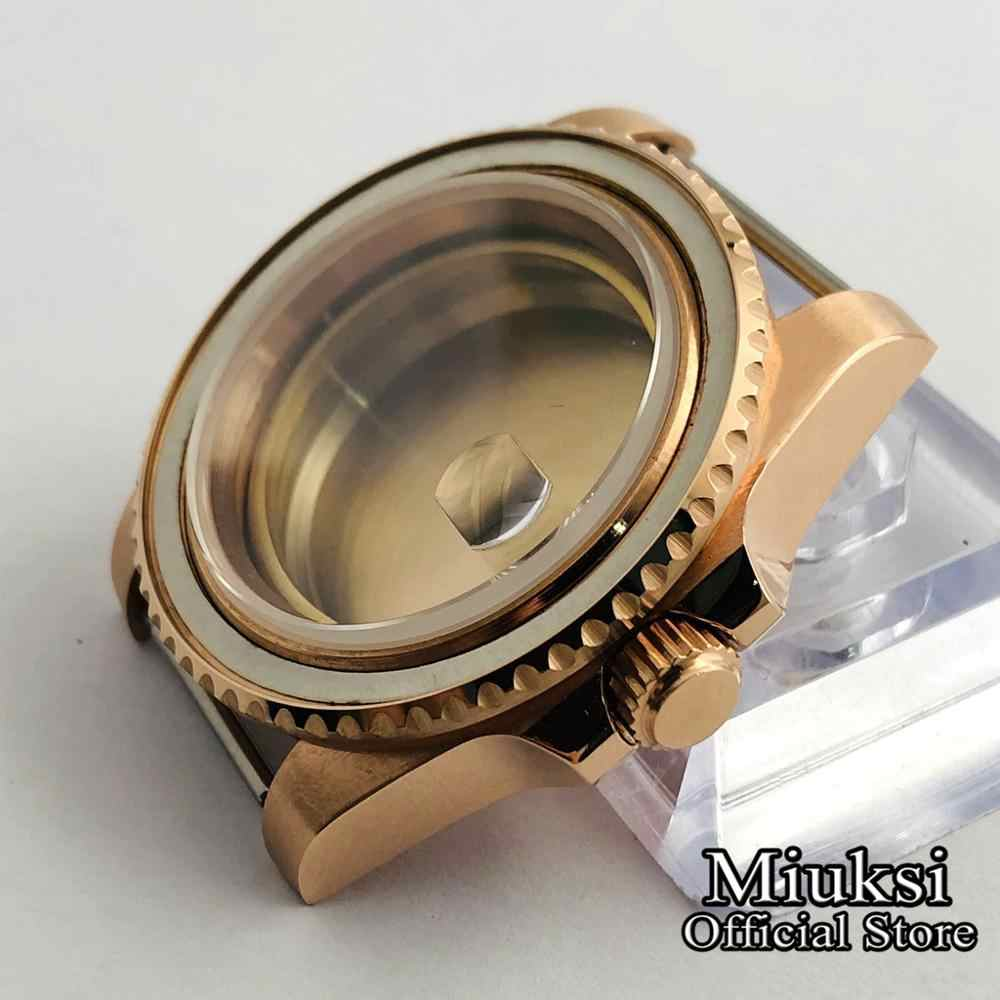 Miuksi 40mm ספיר זכוכית כסף/שחור/זהב נירוסטה שעון מקרה עבור ETA 2836 Mingzhu DG2813,3804,Miyota 8215 תנועה