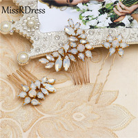 MissRDress 3piece set Bride opal Hair Clip Women Elegant Design Touched Styling Wedding Accessories Hair Pins ornaments marriage