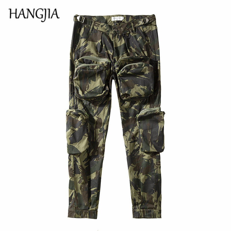 2019 Military Camouflage Cargo Trousers Streetwear Hip Hop Cargo Pants Men Multi-pocket All-match Casual Camouflage Pants
