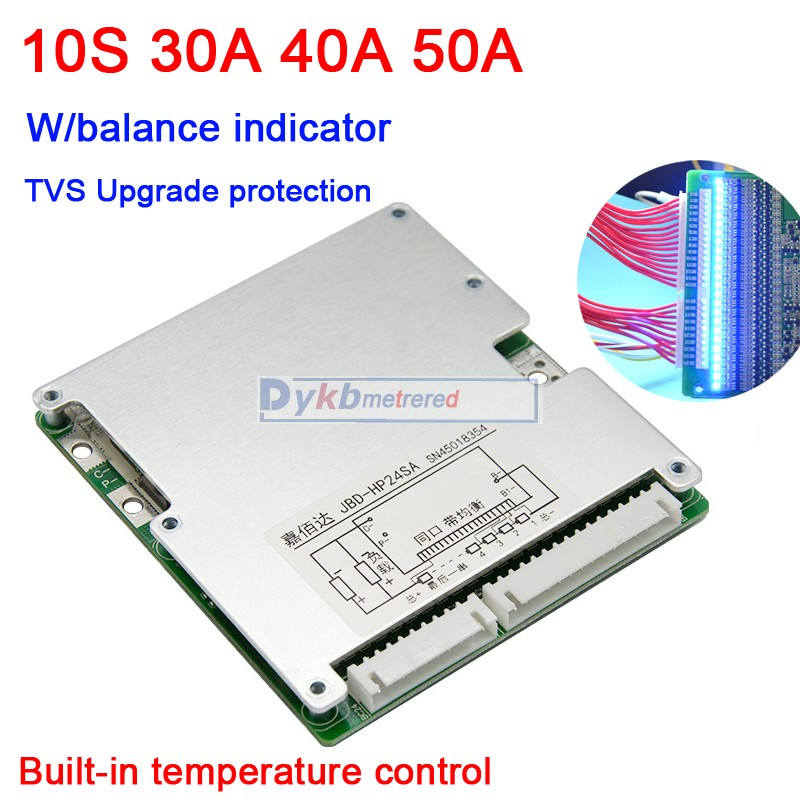 10S 36V Li-ion lipo lithium battery protection board BMS batteries 50A 40A <font><b>30A</b></font> W/ LED balance indicator 7S 6S <font><b>5S</b></font> 4S 12V 24V image