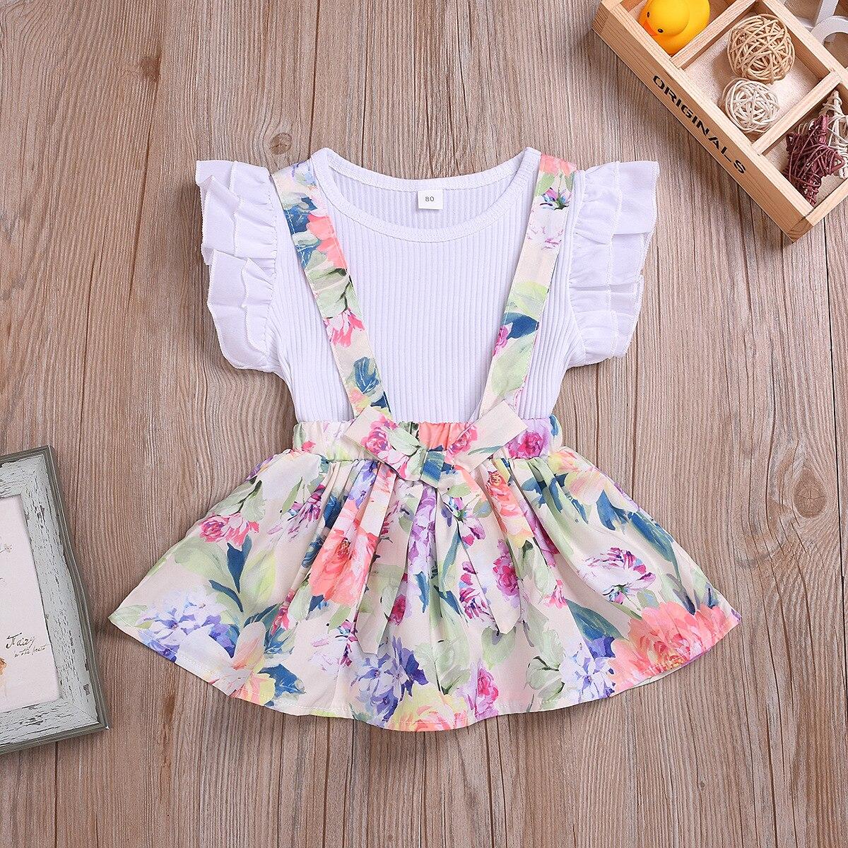 Cotton Printed Strap Dress Suit Girls Clothes L4.17 4