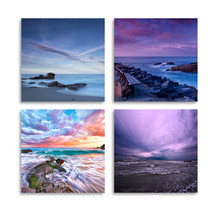 Pictures Home Decor Prints Wall Art Modular Abstract Cloud Natural Landscape Poster 4 Piece Painting On Canvas Living Room Frame(China)