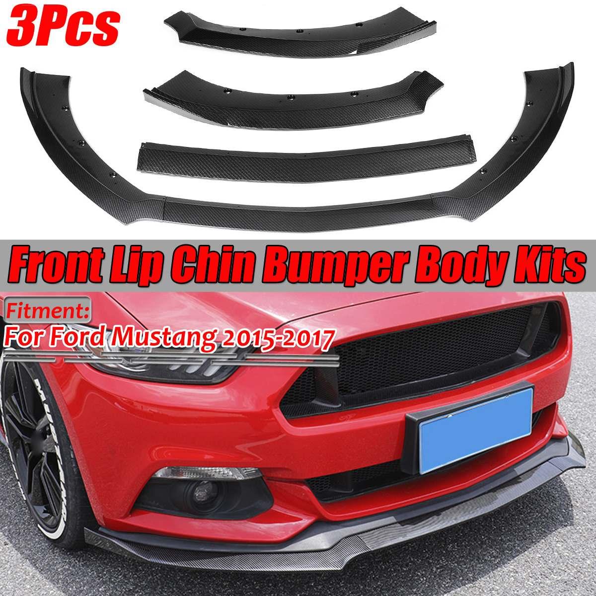 3 pçs olhar de fibra carbono/preto amortecedor dianteiro do carro splitter lábio difusor spoiler pára-choques corpo kits forford para mustang 2015 2016 2017