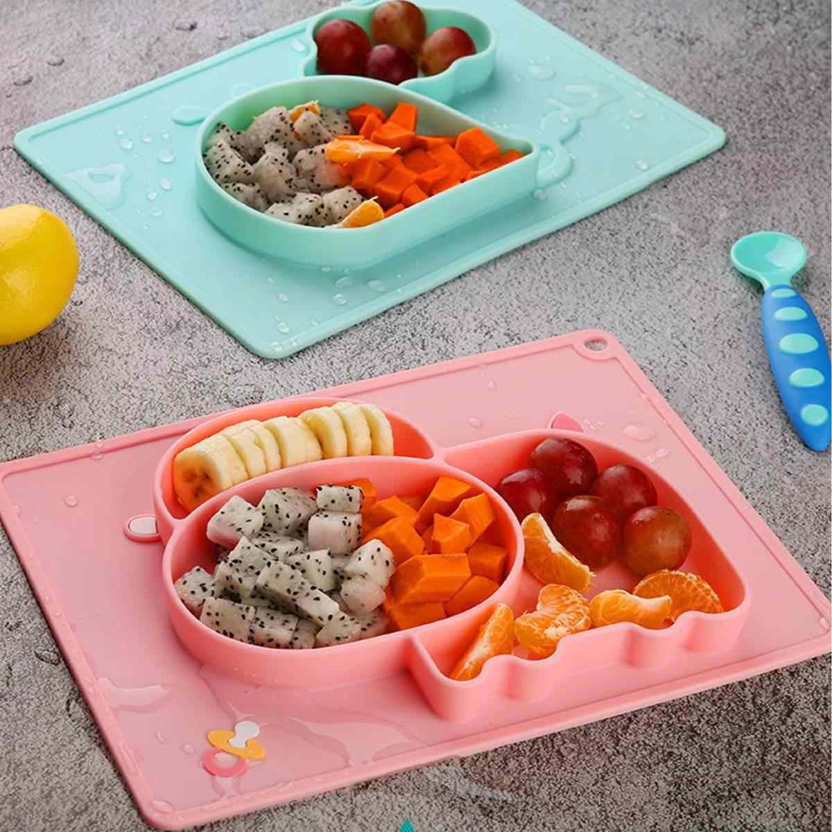 เด็กจานชามเด็กอาหารคอนเทนเนอร์ Placemat อาหารเด็กทารกถ้วยดูดซิลิโคนชามเด็ก