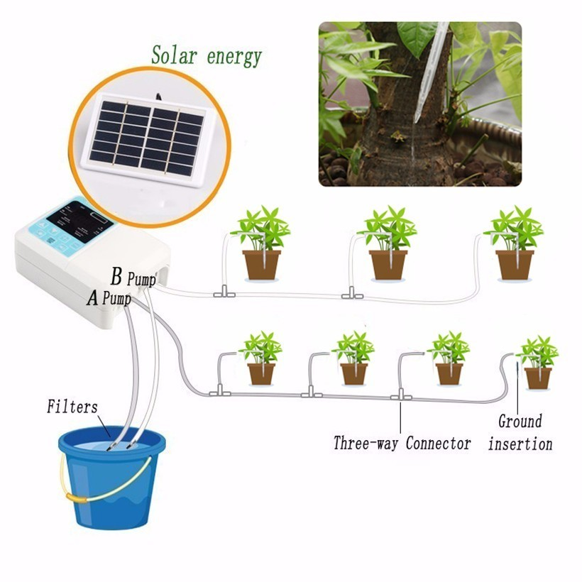 1/2 Pump Intelligent Garden Automatic Watering Device Solar Energy ChargingPotted Plant Drip Irrigation Water Pump Timer System title=