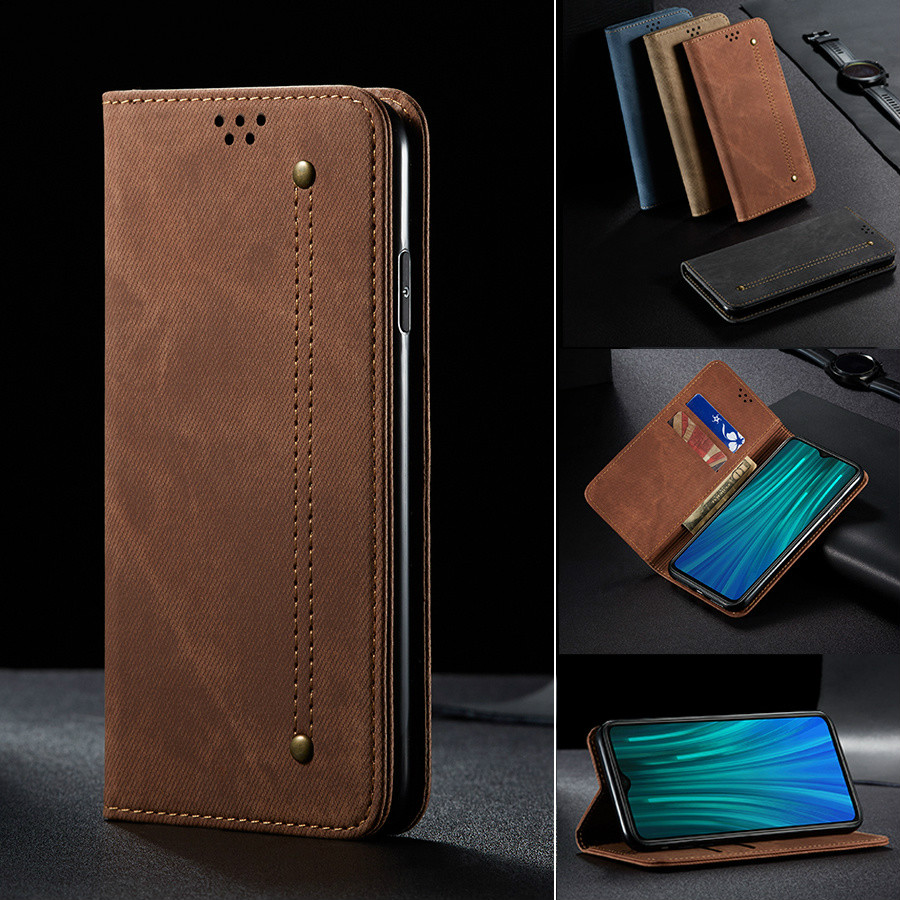 Luxury Denim Leather <font><b>Flip</b></font> <font><b>Case</b></font> for <font><b>Xiaomi</b></font> <font><b>Mi</b></font> <font><b>9</b></font> 9t Cc9 Pro A3 Cc9e Redmi 8a 7a K20 Note 8T 8 7 Pro Magnetic <font><b>Wallet</b></font> Book Cover image